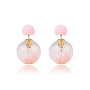 Pair of Resin Small Ball Pendant Stud Earrings