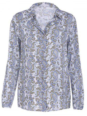 Fashionable Shirt Collar Long Sleeve Floral Print Women's Shirt