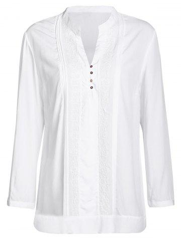 Trendy Casual Solid Color Embroidered Long Sleeve Blouse For Women
