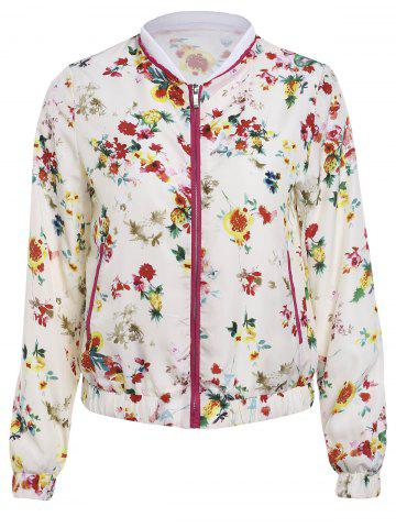 Refreshing Stand Collar Flower Print Long Sleeve Jacket Women