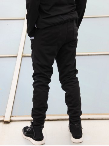 Sale Slimming Stylish Lace-Up Color Block Splicing Beam Feet Polyester Men's Sweatpants - M BLACK Mobile