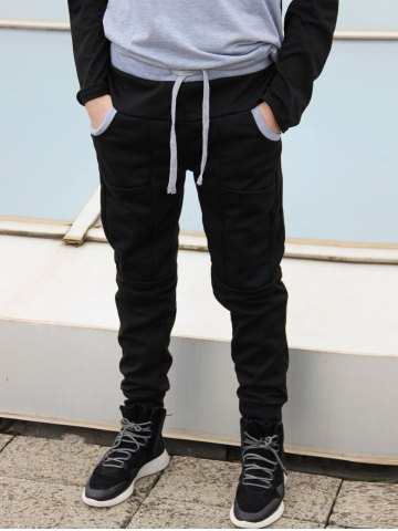 Outfits Slimming Stylish Lace-Up Color Block Splicing Beam Feet Polyester Men's Sweatpants BLACK L