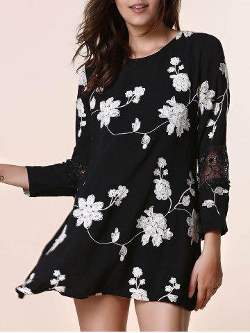 Hot Sweet Round Neck Long Sleeves Patchwork Floral Print Women's Dress