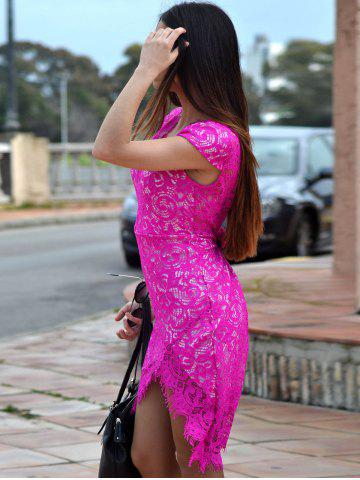 Fashion Sexy V-Neck Lace Embroidered Short Sleeve Bodycon Dress - M ROSE Mobile