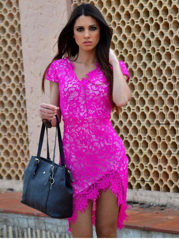 Fashion Sexy V-Neck Lace Embroidered Short Sleeve Bodycon Dress - L ROSE Mobile