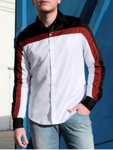 Sale Fashion Shirt Collar Fitted Three Color Splicing Long Sleeve Polyester Shirt For Men - M COLORMIX Mobile
