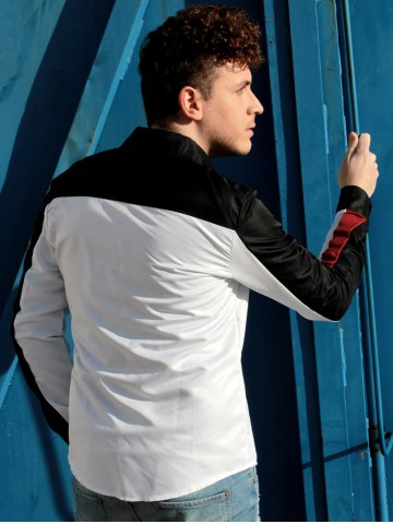 New Fashion Shirt Collar Fitted Three Color Splicing Long Sleeve Polyester Shirt For Men - XL COLORMIX Mobile