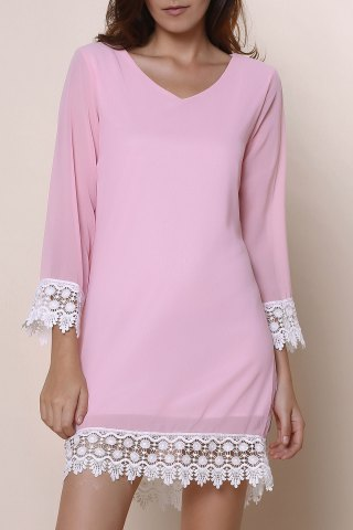 Stylish V-Neck Long Sleeve Laciness Chiffon Women's Dress - Pink - Xl