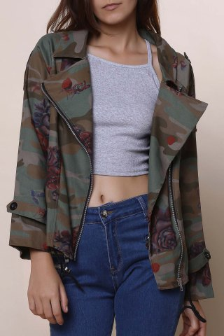 Outfit Stylish Turn-Down Collar Long Sleeve Camouflage Pattern Floral Women's Jacket - M ARMY GREEN Mobile