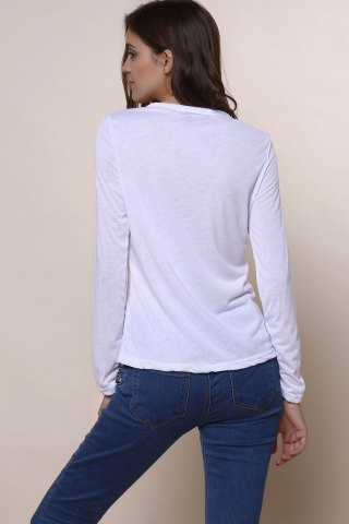 Hot Sexy Plunging Neckline Solid Color Long Sleeves T-Shirt For Women - S WHITE Mobile