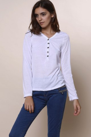 New Sexy Plunging Neckline Solid Color Long Sleeves T-Shirt For Women - S WHITE Mobile