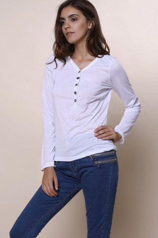 Hot Sexy Plunging Neckline Solid Color Long Sleeves T-Shirt For Women - WHITE M Mobile