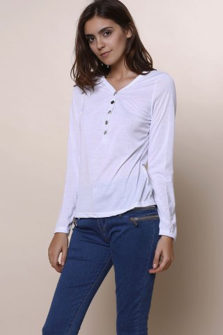 Shop Sexy Plunging Neckline Solid Color Long Sleeves T-Shirt For Women - WHITE M Mobile