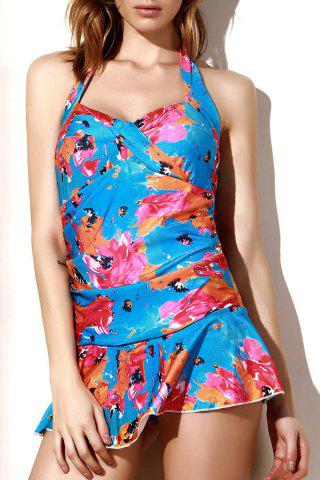 New Floral Halter Flounce Skirted One-Piece Swimsuit COLORMIX L
