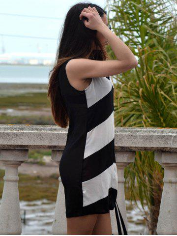 Store Sexy Plunging Neck Sleeveless Zig Zag Women's Dress - XL WHITE AND BLACK Mobile