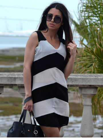 Affordable Sexy Plunging Neck Sleeveless Zig Zag Women's Dress - XL WHITE AND BLACK Mobile