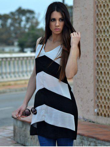 Discount Sexy Plunging Neck Sleeveless Zig Zag Women's Dress - XL WHITE AND BLACK Mobile