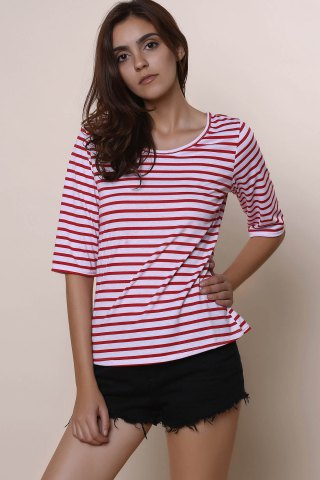 Trendy Casual Scoop Neck Half Sleeve Striped Women's T-Shirt - M RED Mobile