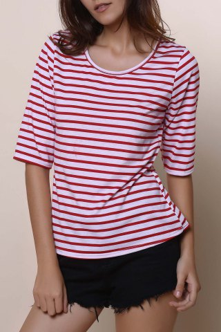 Discount Casual Scoop Neck Half Sleeve Striped Women's T-Shirt - M RED Mobile