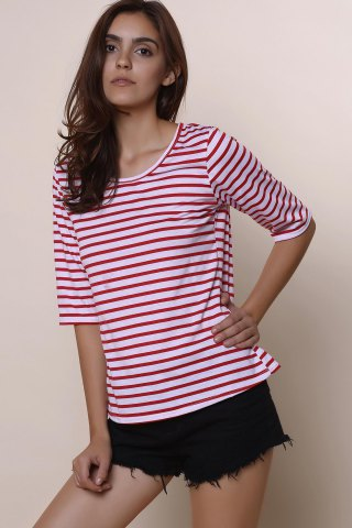 Hot Casual Scoop Neck Half Sleeve Striped Women's T-Shirt - L RED Mobile