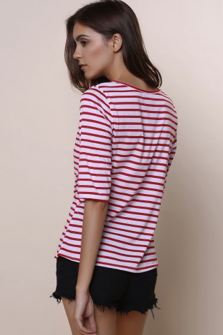 Fancy Casual Scoop Neck Half Sleeve Striped Women's T-Shirt - L RED Mobile