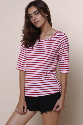 Trendy Casual Scoop Neck Half Sleeve Striped Women's T-Shirt - L RED Mobile
