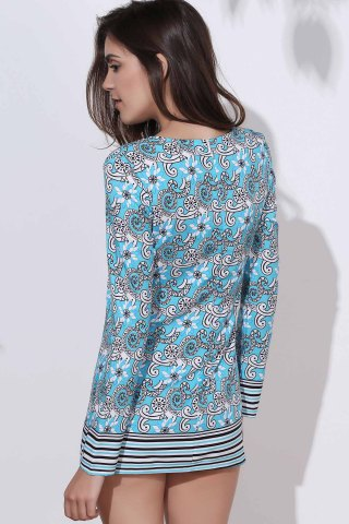 Fancy Ethnic Round Neck Long Sleeve Printed Bodycon Women's Dress - M COLORMIX Mobile