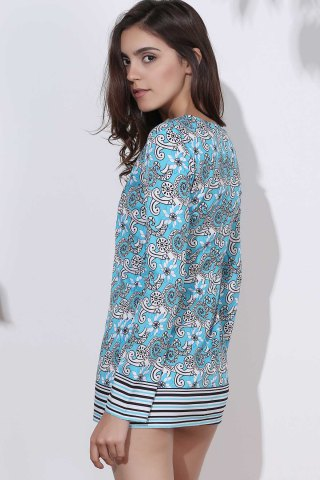Store Ethnic Round Neck Long Sleeve Printed Bodycon Women's Dress - M COLORMIX Mobile