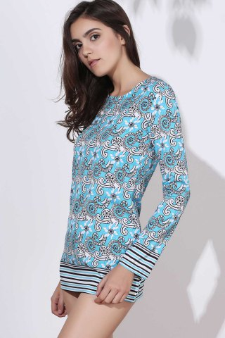 Outfits Ethnic Round Neck Long Sleeve Printed Bodycon Women's Dress - M COLORMIX Mobile