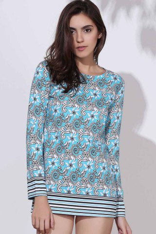 Chic Ethnic Round Neck Long Sleeve Printed Bodycon Women's Dress COLORMIX M