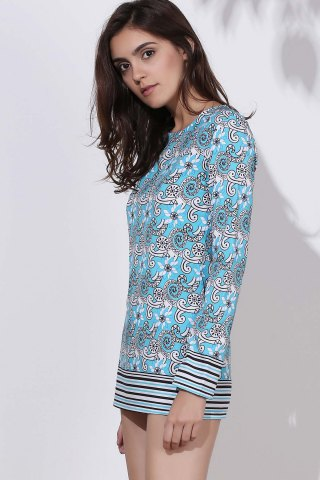 Fancy Ethnic Round Neck Long Sleeve Printed Bodycon Women's Dress - XL COLORMIX Mobile