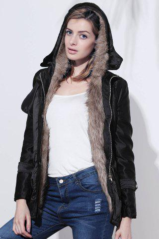Trendy Long Sleeves Hooded Thickened Lined Waistband Beam Waist Pockets Korean Style Casual Women's Coat - S BLACK Mobile