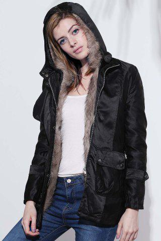 Hot Long Sleeves Hooded Thickened Lined Waistband Beam Waist Pockets Korean Style Casual Women's Coat - S BLACK Mobile