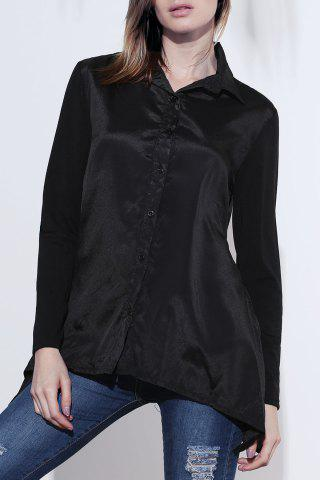 Loose Long Sleeeve Turn Down Collar Irregular Hem Women's Blouse - Black - One Size