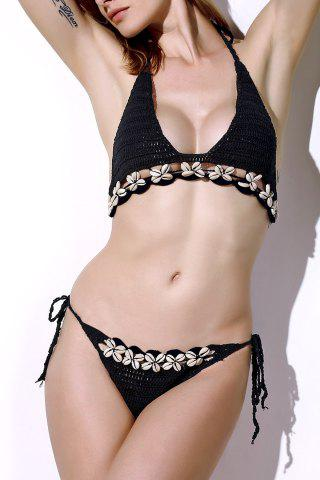 Hot Refreshing Halter Solid Color Crochet Shell Inlaid Bikini Set For Women