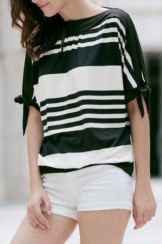 Hot Casual Short Sleeve Black and White Striped Women's T-Shirt