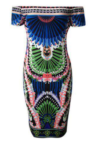 Unique Alluring Off-The-Shoulder Colorful Printed Bodycon Dress For Women