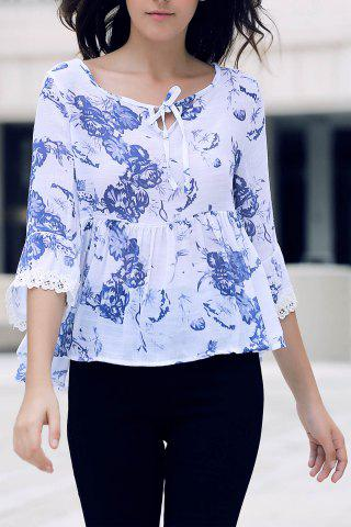 Store Stylish V-Neck Half Sleeve Printed Flounced Blouse For Women