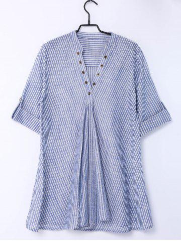 Buy Women's Stylish Pinstriped Short Sleeve Blouse