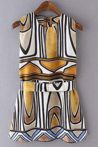 Unique Women's Stylish Ethnic Printed Belted Sleeveless Dress