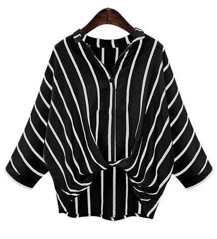 Outfit Chic Plus Size Turn-Down Collar Batwing Sleeve High-Low Hem Striped Women's Blouse BLACK XL