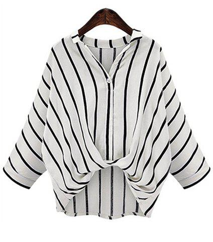 New Chic Plus Size Turn-Down Collar Batwing Sleeve High-Low Hem Striped Women's Blouse