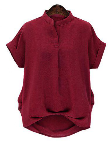 Best Chic Plus Size Stand Collar Short Sleeve Asymmetrical Women's Blouse WINE RED 4XL