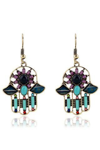 Buy Pair of Resin Inlay Hollow Out Ethnic Style Earrings