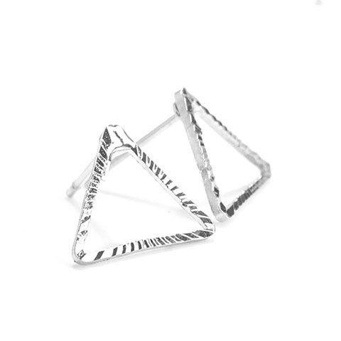 Unique Pair of Alloy Hollowed Triangle Earrings SILVER