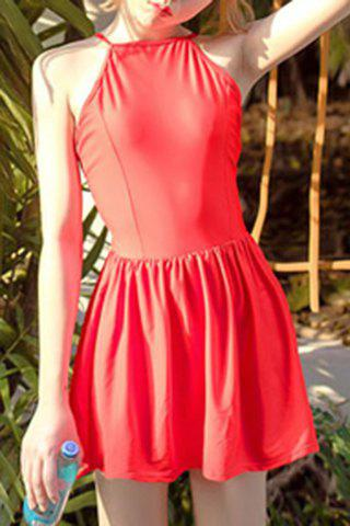 New Trendy High Neck Red Ruffled One-Piece Swimsuit For Women