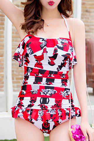 Buy Trendy Halterneck Print Ruffled One-Piece Swimsuit For Women