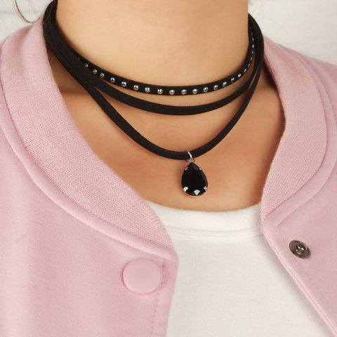 Sale Water Drop Faux Gem Rivet Layered Choker BLACK