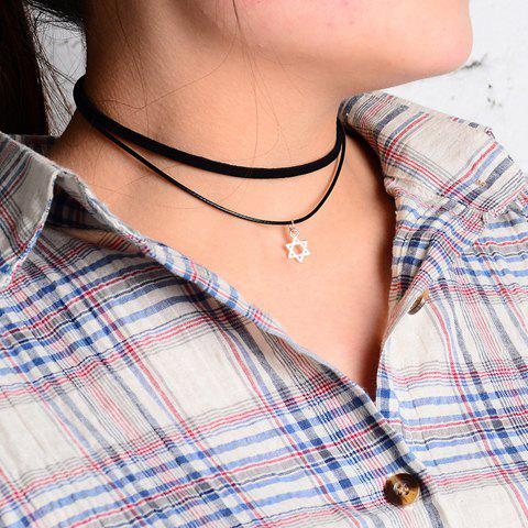 Store Double Layered Hollow Hexagram Pendant Chokers