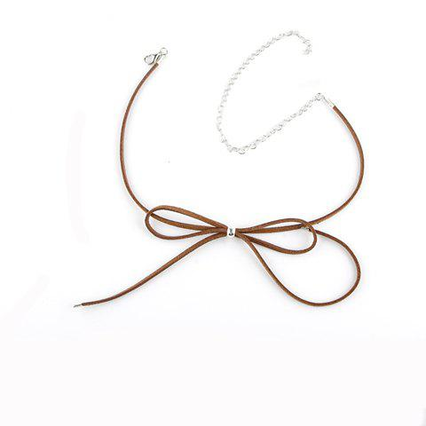 Best Hollow Out Adjustable Bow Embellished Chokers BROWN